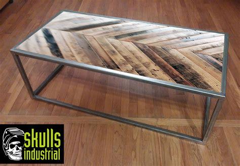 steel and wood table steel and wood pattern coffee table skulls industrial