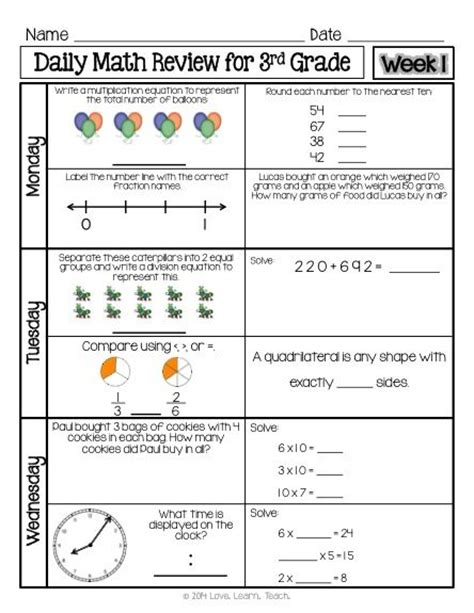 5th Grade Math Review Worksheets by 3rd Grade Math Review Worksheets Mixed Review 1000 Ideas