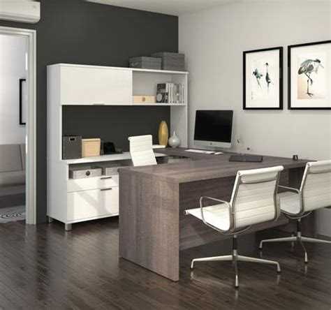 bestar innova u desk with hutch in white and antigua u shaped office desks free shipping officedesk com