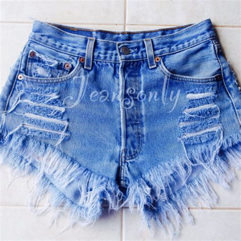 Frayed High Waist Denim Shorts levis high waisted denim shorts distressed frayed