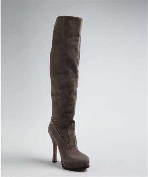 prada grey suede platform heel boots in gray grey