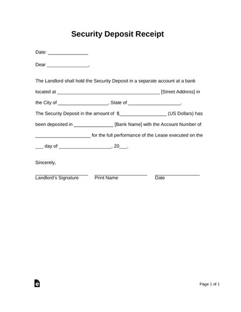 rental security deposit receipt template free security deposit receipt template pdf word