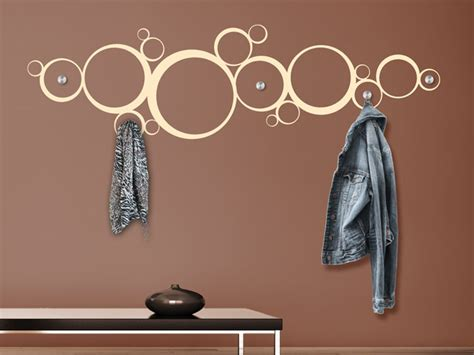 ausgefallene garderobenhaken wandtattoo garderobe kreisornament kreise mit