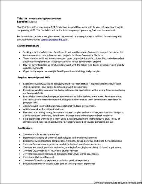 resume format for experienced it professionals resume format for 2 year experienced it professionals free sles exles format resume