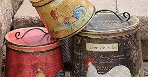 terrific shabby country chic rooster tin canister set home new french country black red must set 3 rooster chicken