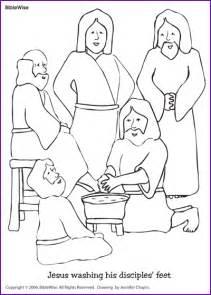 Jesus Washing Feet Coloring Page - coloring jesus washing disciples feet kids korner biblewise