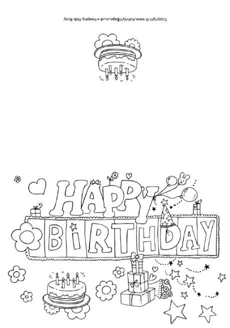 birthday coloring card template happy birthday colouring card