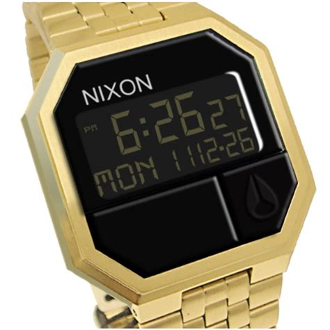 Nixon Digital Stainless Black Gold nixon a158502 re run all gold black digital steel