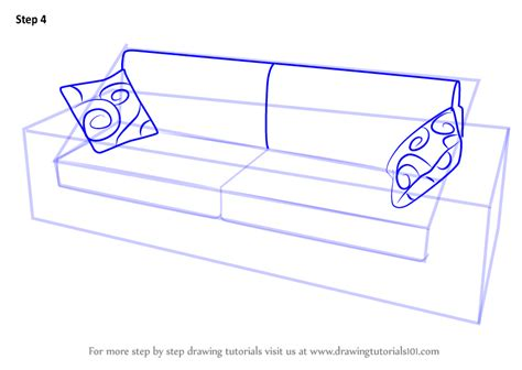 Learn How To Draw Sofa by Learn How To Draw Sofa With Cushions Furniture Step By