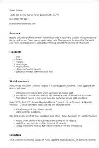 Resume Samples Volunteer by Professional Hospital Volunteer Templates To Showcase Your