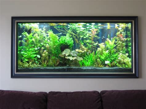 cool aquarium wall painting design for living room with