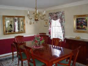 dining room paint ideas with chair rail and red color