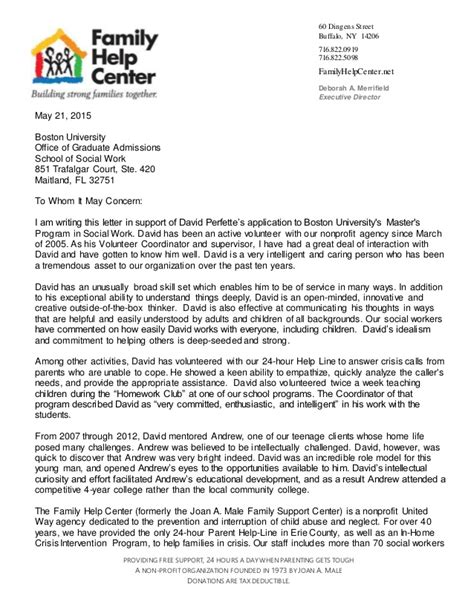 Support Letter For Non Profit Letter Of Rec Hahn Baker Family Help Ctr