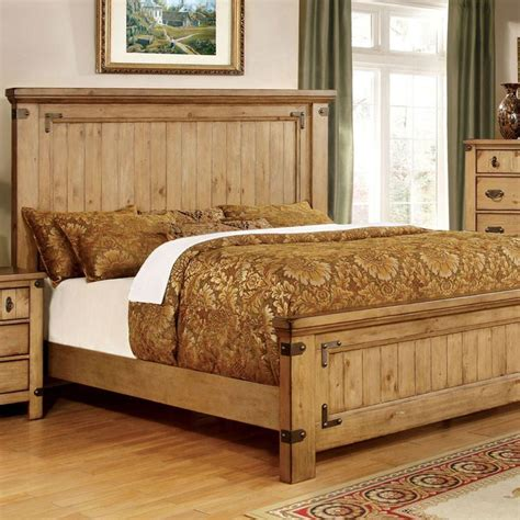 Country Bed Frames 247shopathome Cm7449ek Pioneer Country Style Weathered Elm Finish King Size Bed Frame Set