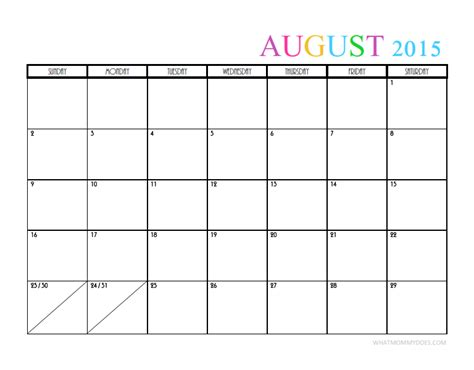 free monthly calendar templates 2015 best photos of 2015 monthly calendar august august 2015