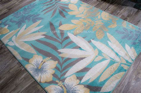 Teal Area Rug 5x8 5x8 5 3 Quot X 7 2 Quot Tropical Coastal Floral Aqua Teal Gray Blue Area Rug Ebay