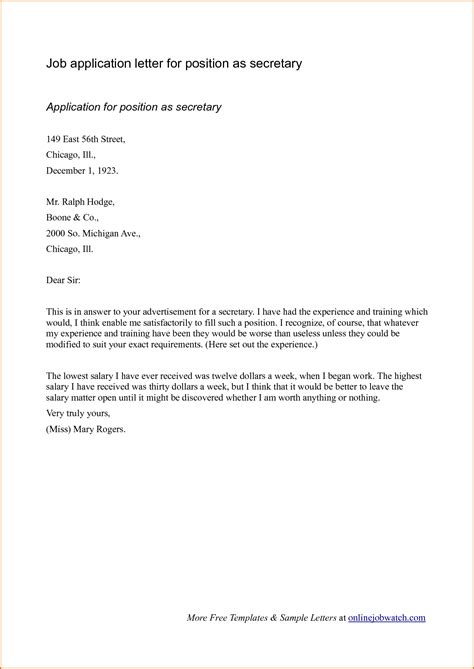 cover letter for work application sle cover letter format for application