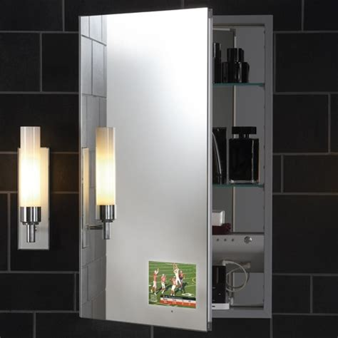 Robern Mirrored Cabinets robern m series flat plain mirror cabinet with integrated tv modern medicine cabinets by