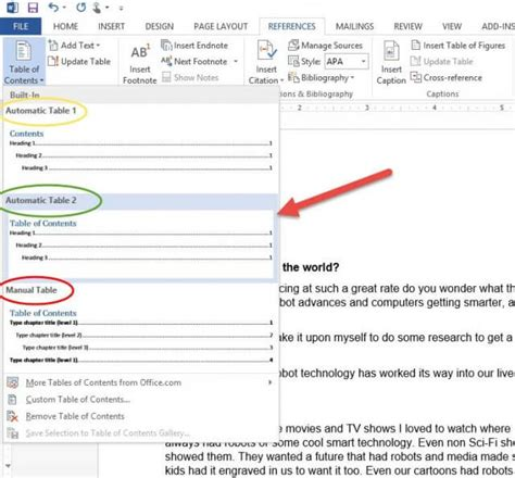 Create Table Of Contents In Word 2013 by How To Create A Toc In Word 2013 Daves Computer Tips