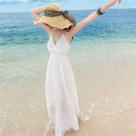 New brand summer dress female beach long dress white beach full dress sexy bohemia cotton