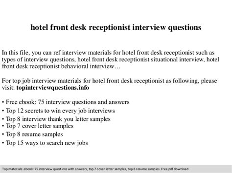 Receptionist Questions by Hotel Front Desk Receptionist Questions