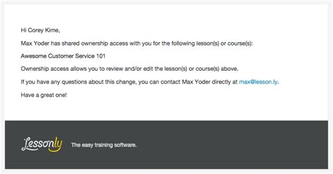 share email sharing ownership lessonly