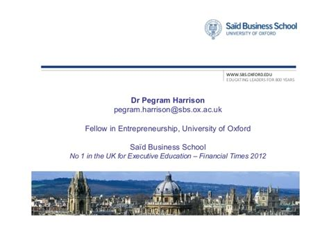 Oxford Said Mba Mission by Pegram Harrison Develop Yourself