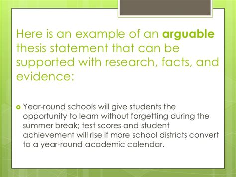 arguable thesis statement exles facts opinions and arguable thesis statements