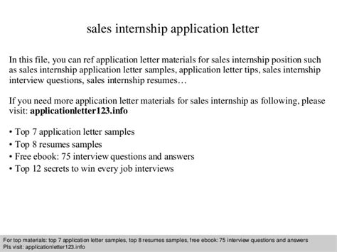 Application Letter Materi Sales Internship Application Letter