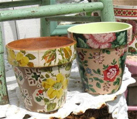 Materials Needed For Decoupage - wallpaper decoupage flower pots favecrafts