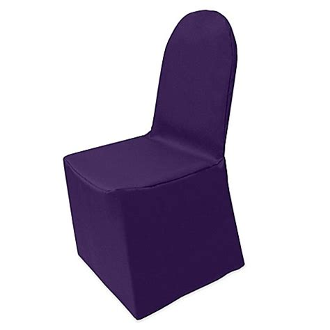 purple folding chair covers buy basic polyester cover for banquet chair in purple from