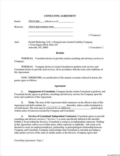 consultant contract template free 14 fast free consulting agreement template word wu