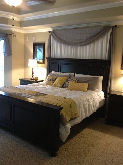 curtains white grey yellow master bedroom absolutely love  black furniture