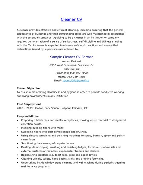 Cleaning Job Description Resume Resume Ideas Janitorial Description Template