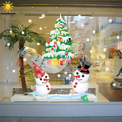 shop decoration for home the new shop window snowman tree wall
