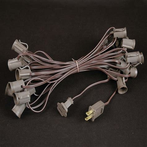 white lights with brown wire warm white led c9 outdoor light set on brown