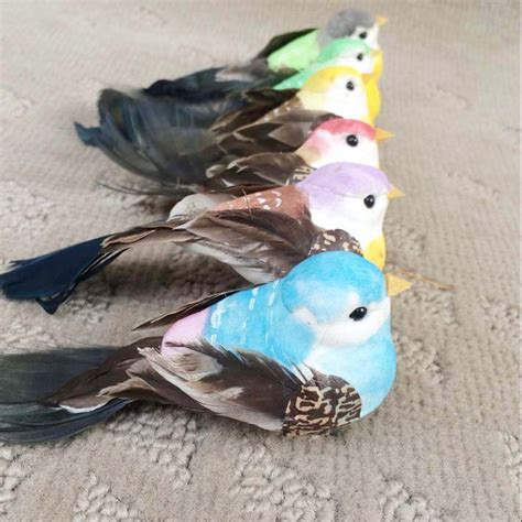 Small Bird Decorations by Nyac 12 4 4cm 12pcs Decorative Artificial Foam Feather