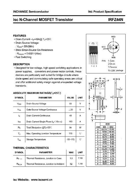 transistor irfz44a irfz44n 4558749 pdf datasheet ic on line