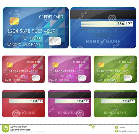 select comfort credit card set of realistic credit card two sides isolated on royalty