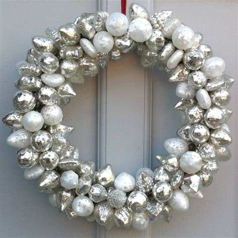 silver bauble wreath  idyll home