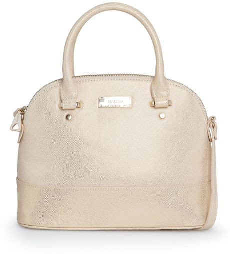 Mango Touch Bag mango touch saffiano effect tote bag in beige gold lyst