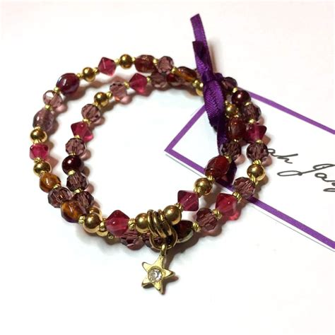 glass bead charm bracelet charm bracelet mulberry and pink recycled glass