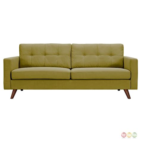 Modern Green Sofa Uma Mid Century Modern Green Fabric Button Tufted Sofa W Walnut Finish