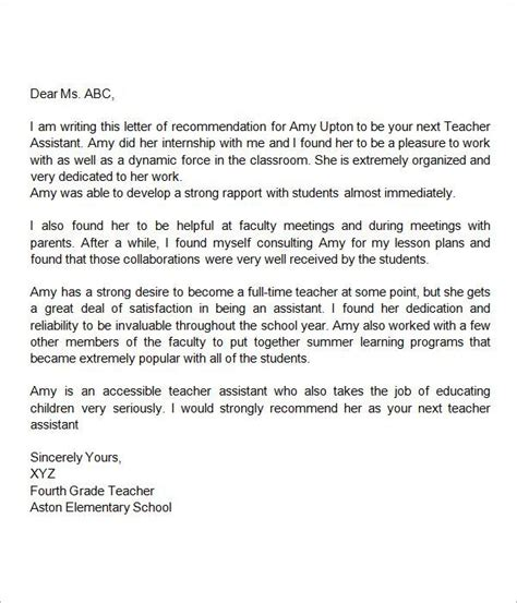 scholarship recommendation letter free sample example format