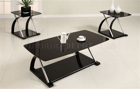 black glass modern 3pc coffee table set w metal frame
