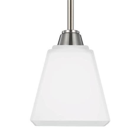 Brushed Nickel Mini Pendant Light Sea Gull Lighting Parkfield 1 Light Brushed Nickel Mini