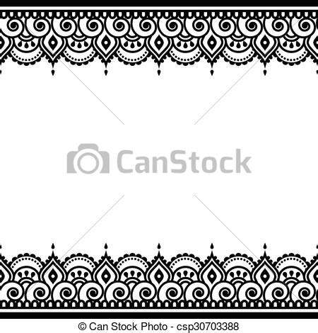 mehndi indian henna tattoo design vector border ornament