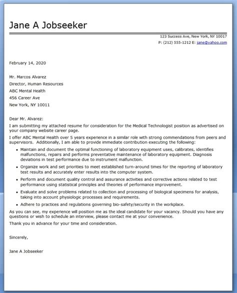 sle cover letter for medical technologist position