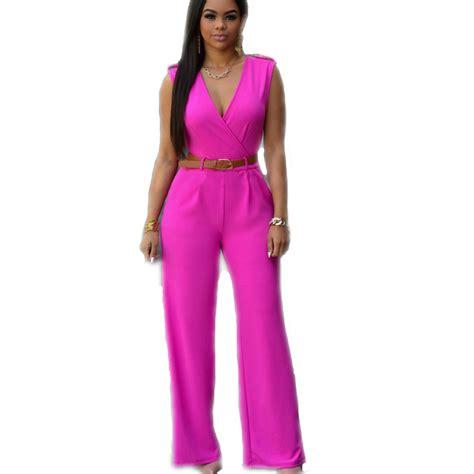 fashion rompers jumpsuit v neck solid color