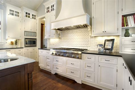 looking subway tile backsplash in kitchen traditional